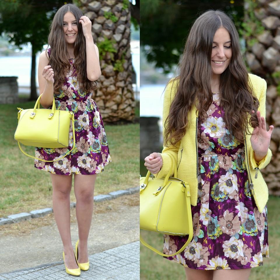 accesorios vestido flores bolso