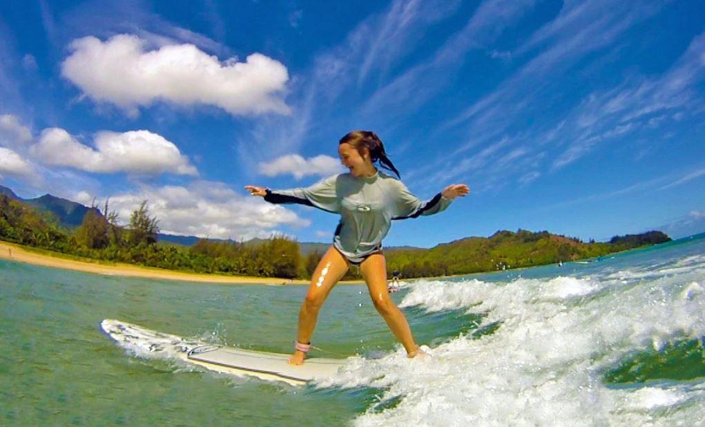 aprender a surfear en hanalei bay