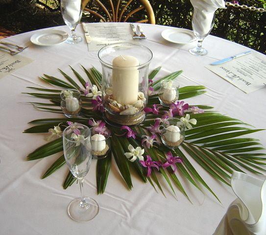 decoración mesa boda hawaiiana
