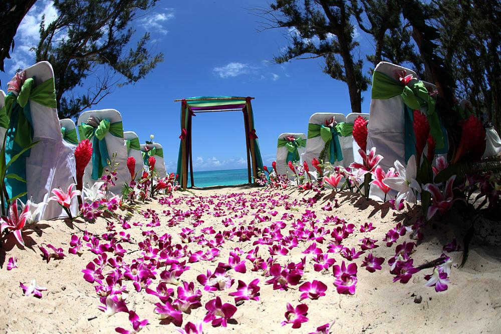 decoracion pasillo boda hawaiana