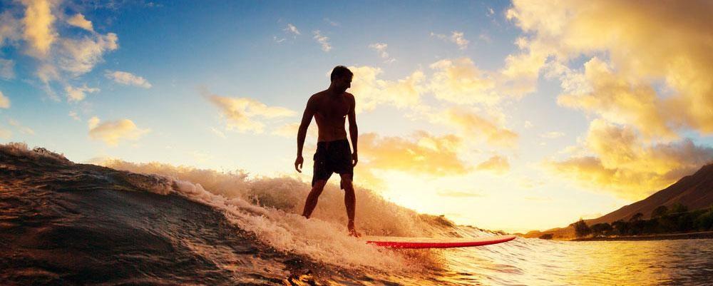 hawaii surfing olas atardecer