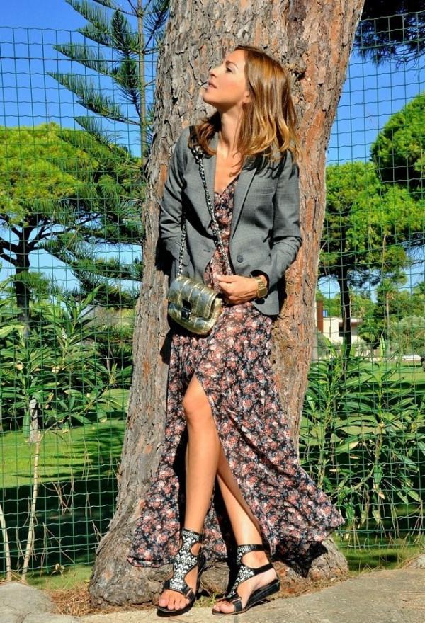 vestido largo flores abierto blazer